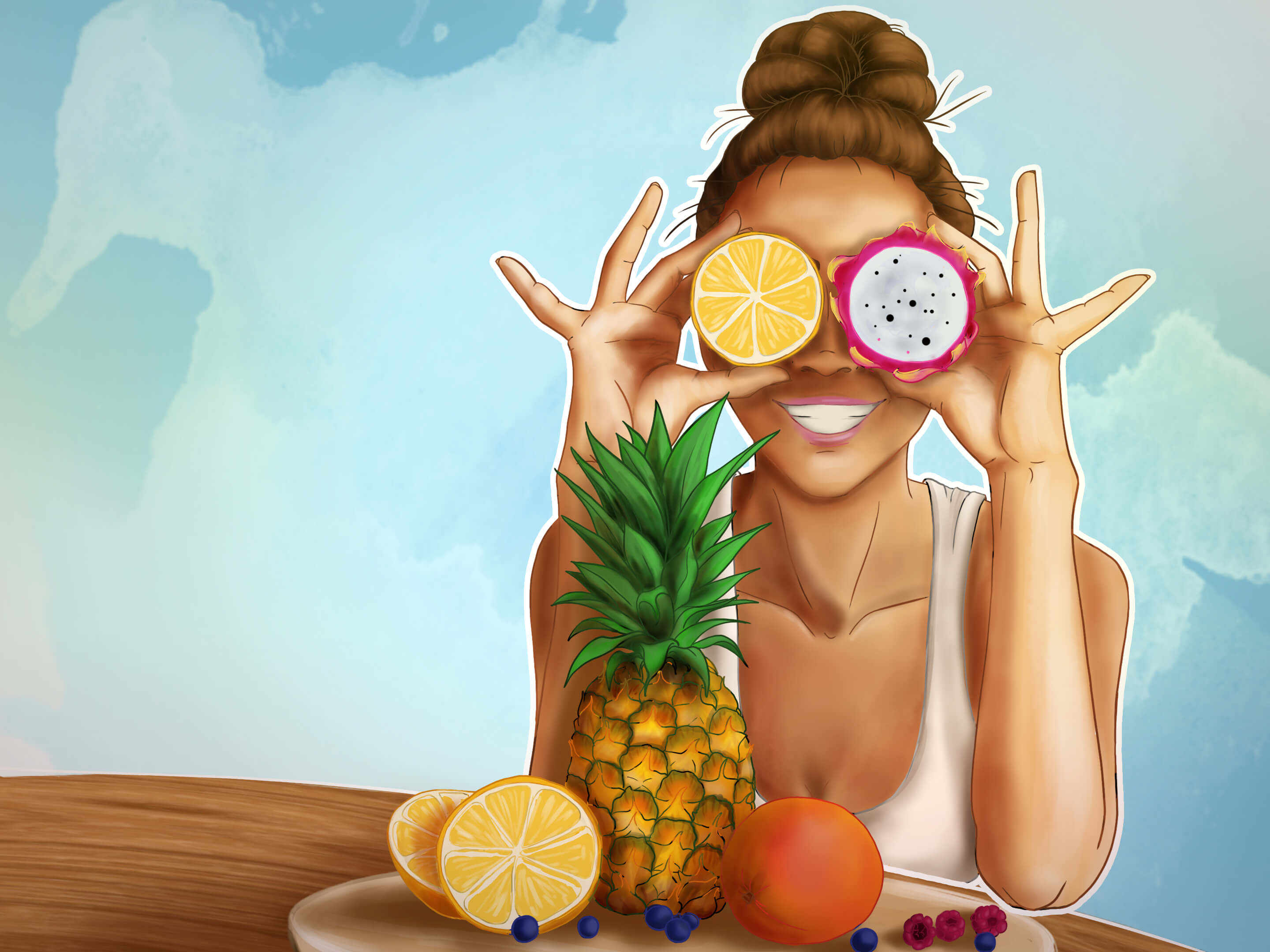 Illustration of a girl with 2 fruits replacing her eyes and many fruits on her plate