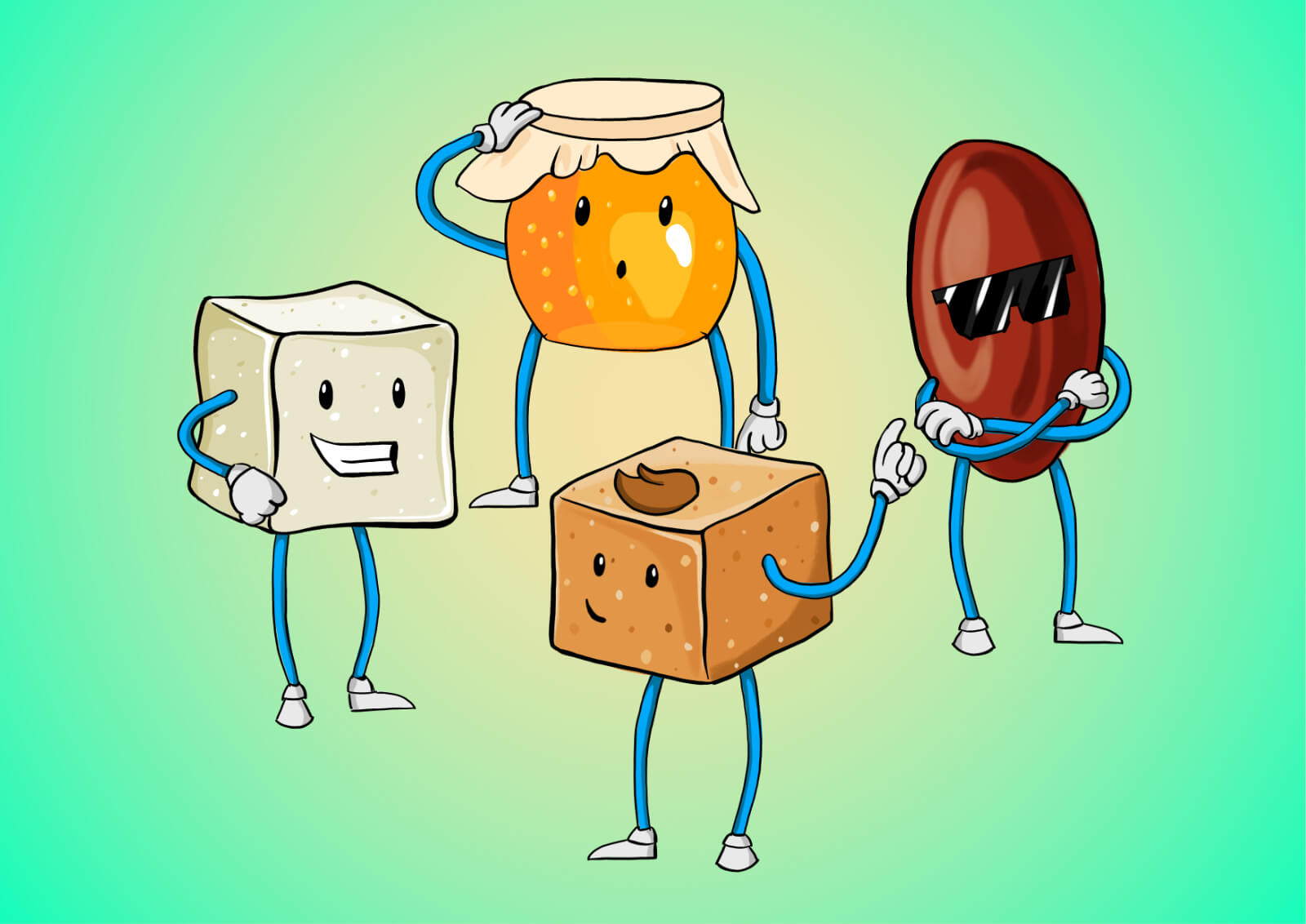 Illustration of honey, white sugar, brown sugar and a date. All belonging to the same family.